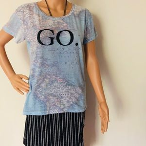 "Wild Fox ""GO"" detailed map T-shirt"
